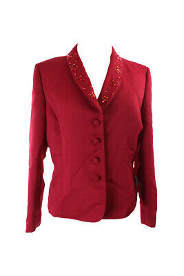 Tahari Asl Red Textured Rhinestone Blazer 16 Clothing, Shoes & Accessories