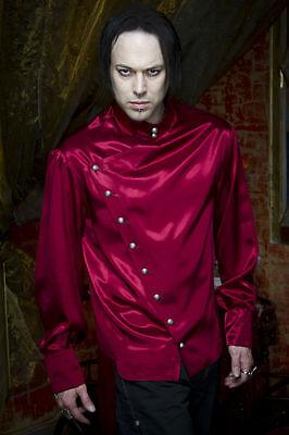 SHRINE EMPIRE SATIN GOTHIC VAMPIRE STEAMPUNK EDWARDIAN VICTORIAN BURGUNDY SHIRT Casual Button-Down Shirts