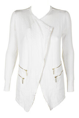 Inc International Concepts Washed White Long-Sleeve Zip-Detail Draped Cardigan Clothing, Shoes & Accessories