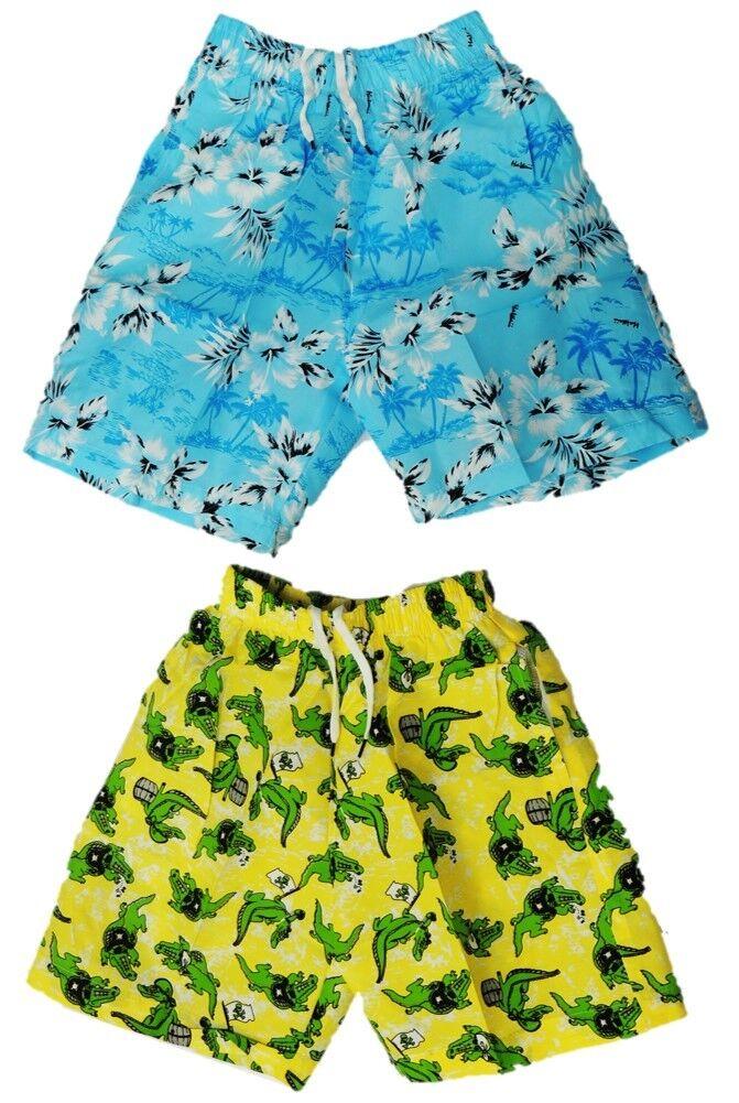 2er Pack Set Jungen Badehose Badeshorts 92 116 128 140 164 Jungs Hawaii Krokodil