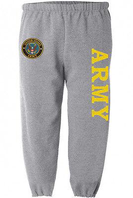 US Army sweatpants Men's size gray yellow army sweats sweat pants track bottoms Gray Bottom Rail