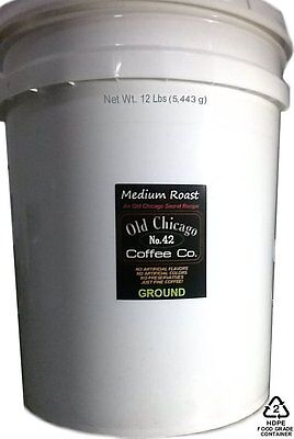 12 Lbs Bulk Old Chicago Ground Coffee ( 5 Gallon Bucket of Coffee ) - 192 Oz.