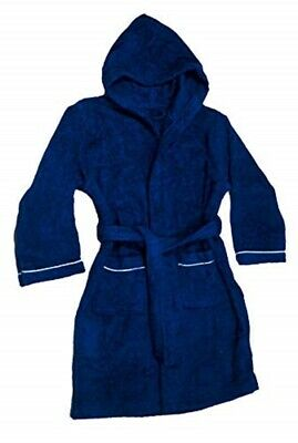 Boys Terry Cloth Hooded Bathrobe 100% Cotton Terry Cover-up Boys Blue Cover Up