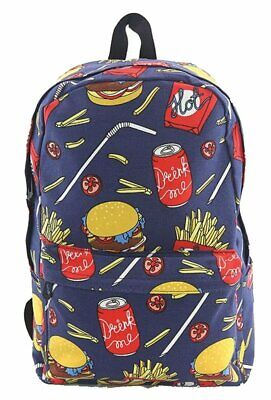 Fast Food Canvas Backpack School Book Bag Hamburger Fries Soft Drink Blue](Hamburger Backpack)