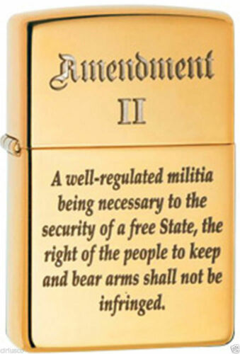 2nd Amendment Right to Bear Arms Laser Engraved Solid Brass Zippo Lighter