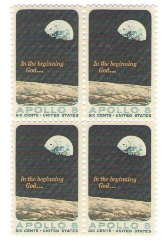 NASA Space Explor. Apollo 8 Mint Unused 52 Yr Old Mint Vintage Stamp Block 1969