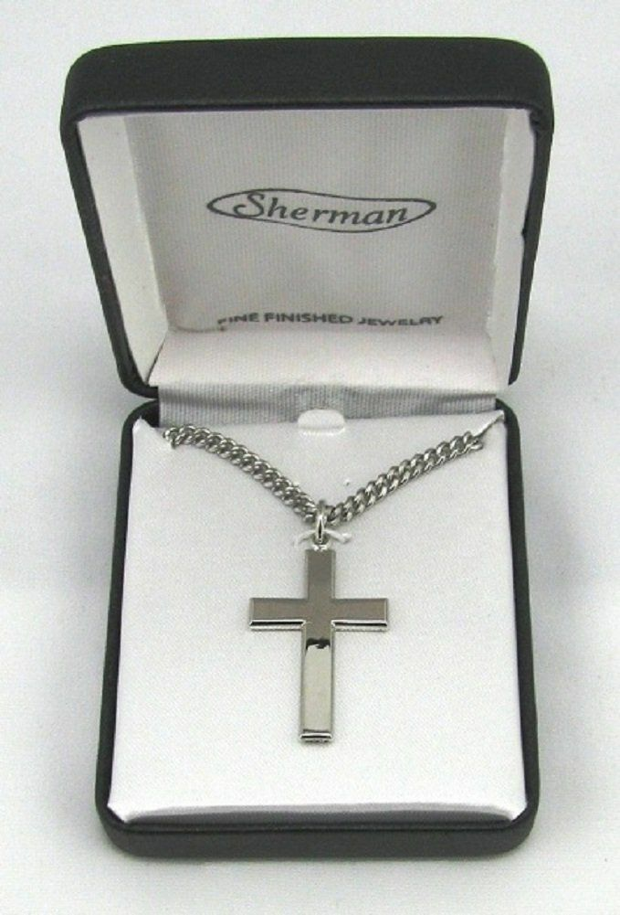 MEN S RHODIUM PLATED SILVER COLOR CROSS CHAIN NECKLACE 24 IN GIFT BOX CASE - $32.99