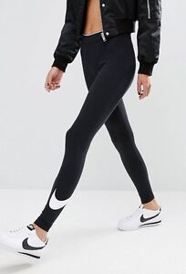 **NWT** Size XS NIKE Womens Black Tight Tights Printed Logo Swoosh Tick Gym Yoga
