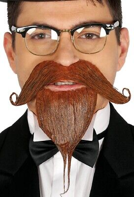 Herren Rostbraun Gesichtsbehaarung Schnurrbart Spitzbart Bart Maskenkostüm