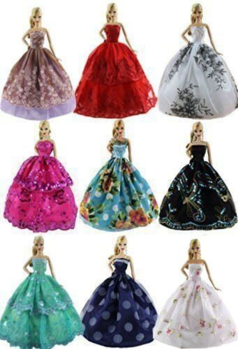 US 6pcs/Lot Barbie Doll Fashion Princess Dresses Outfits Party Wedding Clothes