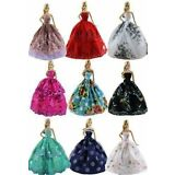 6pcs/Lot  Fashion Princess Dresses Outfits Party Wedding Clothes for Barbie Doll