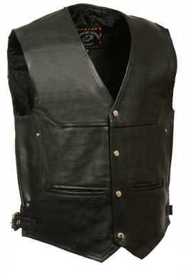 Milwaukee Leather Men's Deep Pocket Vest w/ Side Buckle ML1927 - Mens Deep Pocket