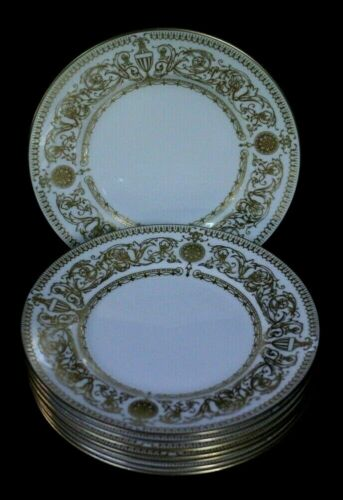 8 ROYAL WORCESTER FINE BONE CHINA ENGLAND HYDE PARK GOLD BREAD PLATES 6 1/8""