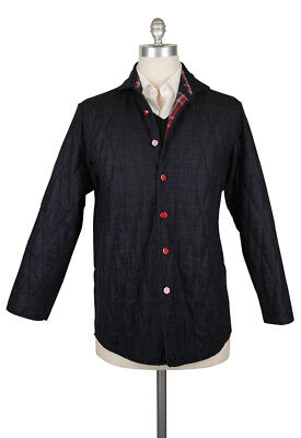 Kiton Dark Blue Wool Plaid Coat - (175)