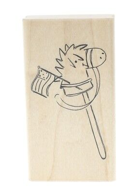 Pony on a stick, Horse, Child's Toy Flag Wooden Rubber Stamp