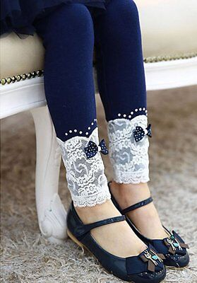 Lace Flowers Leggings for Girl Princess Girls Winter Pants With Bow Knot 3-7 Y