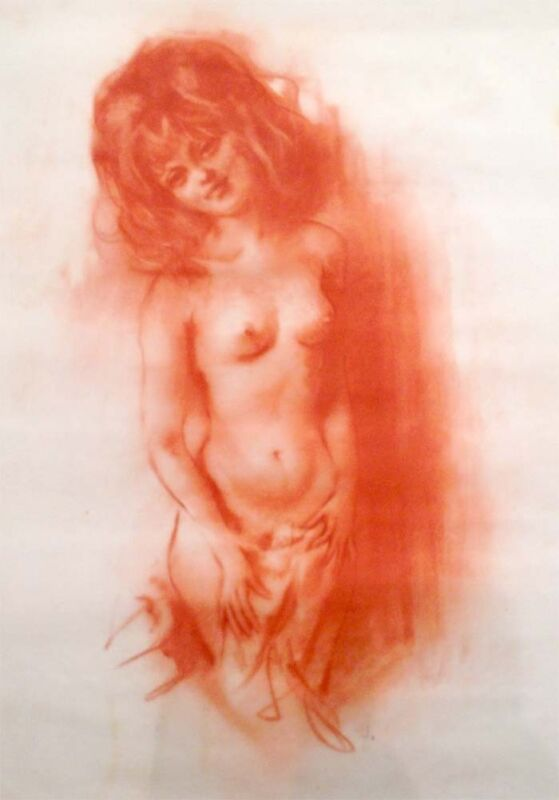 """Julian Ritter - Nude Lady  _Conte´  on Vellum 19"""" x 24"""" -Signed - 337"""