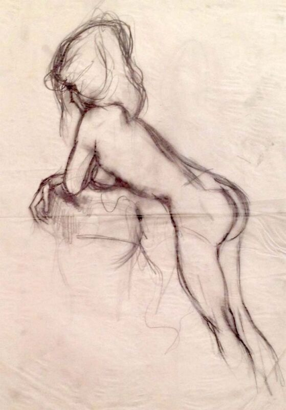 """Julian Ritter-Nude Lady -Charcoal  on Vellum_ 14"""" x 19"""" Un-Signed- 320"""
