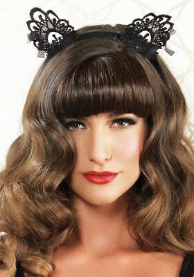 Lace Cat Ears Kitty Bunny Headband Organza Hair Bow Tie Ribbon Black Venice Lace - Bunny Ears Black