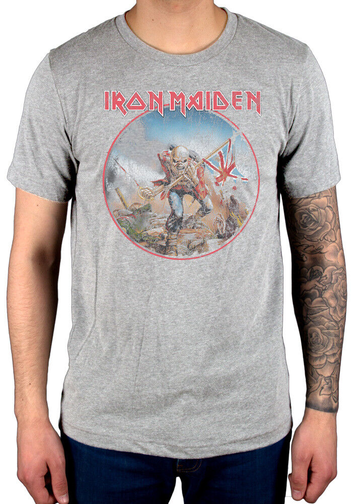 Official Iron Maiden Trooper Vintage Circle T-Shirt Run To The Hills Wasted Year