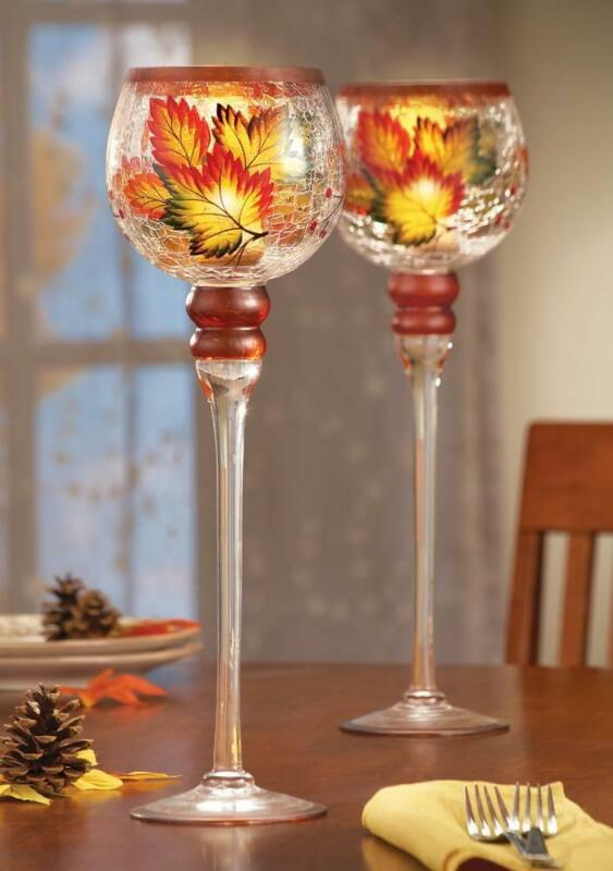 Autumn Leaf Long Stemmed Candle Holder Sold Individually