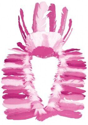 Damen Luxus Rosa Chief Indian Feder Kopfschmuck Kostüm Verkleidung - Indian Chief Kopfschmuck Kostüm