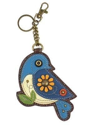 Chala Blue Bird Perched Key Chain Purse Leather Bag Fob Charm Beige