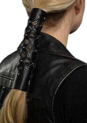 Hair Gloves Womens Leather Hair Wrap Diamond Cut-Out with Lace & Rivets 31839