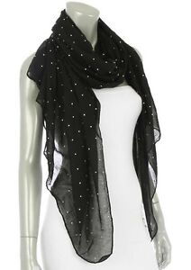 SPARKLY BLACK CRYSTAL DOT SHEER EVENING SHAWL WRAP SCARF