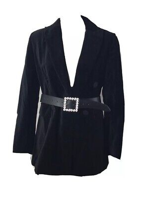 ZARA Black Velvet Tuxedo Double Breasted Long Sleeve Blazer Jacket Womens M