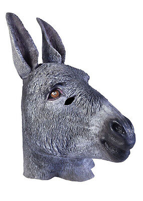 Donkey Head Mask (Latex Full Head Donkey Mask Animal Costume Democrat Fancy)