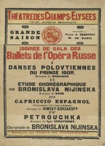 Nijinska Ballets Russes Theatre National, Paris, 1922. Vintage Ballet Poster