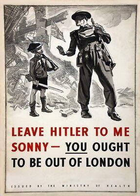 Hitler Propaganda Posters (LEAVE HITLER TO US, SONNY British WW2 Propaganda Poster 250gsm A3 )