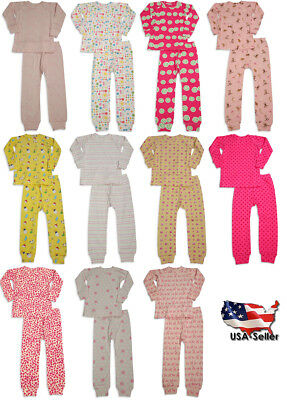 Girls Potato - Sweet Potato Toddler & Girls Long Sleeve Cotton Pajama Sets- 11 Prints Available