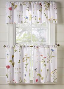 Spring floral cafe curtain set valance panels kitchen bath curtains