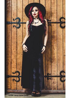 Necessary Evil Venus Gothic Witch Alternative Long Black Velvet Maxi Dress N1266 - Long Black Witch Dress