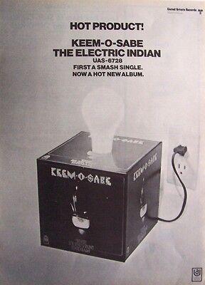 THE ELECTRIC INDIAN 1969 vintage POSTER ADVERT KEEM-O-SABE Len Barry