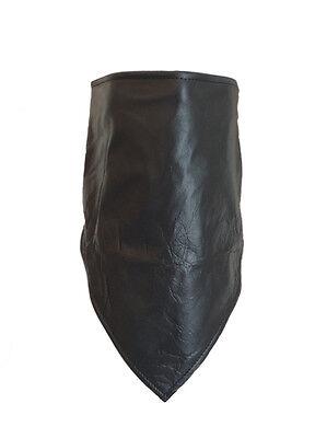 100% Genuine Soft Leather Bandana Scarf W/ Fleece Lining Hook & Loop - Fleece Bandana