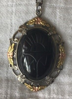 Lsp Costume (Vintage Marked Sterling LSP Co Carved Scarab Pendant with Marked 925 Box)