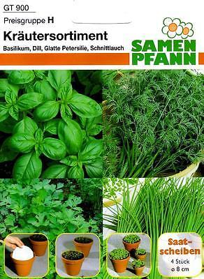 Kräutersortiment Saatscheiben - Basilikum, Dill, Petersilie, Schnittlauch Samen