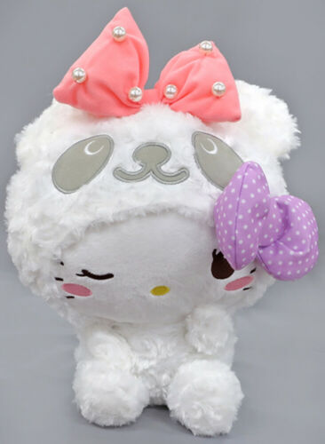 "FuRyu Sanrio Hello Kitty Fluffy Pearl Panda White 13"" Plush Doll AMU-PRZ10635 US"