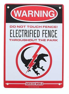 Jurassic World Electrified Raptor Fence Tin Litho Warning Sign Loot Crate