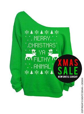 Overstock Sale   Merry Christmas Ya Filthy Animal   Green Slouchy Sweatshirt