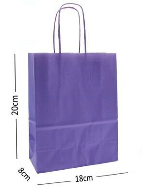 Lilac Purple Birthday Party Gift Bags - Kraft Paper Loot Gift Bag With Handles