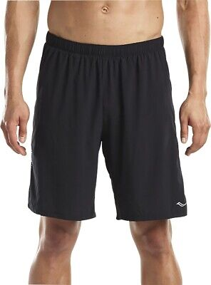 Saucony Interval 9 Inch Mens 2 In 1 Running Shorts - Black