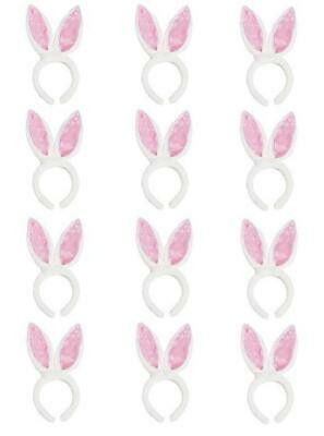 12 Pack White Fluffy Bunny Rabbit Ears - Halloween Costume Easter Egg Basket Toy (Fluffy Bunny Halloween Costume)