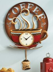 New Large Hot Coffee Cup Pendulum Kitchen Wall Clock