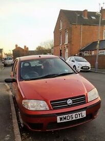 Fiat Punto red 2005, 5 doors, 2 lady owners, 81k miles, new Sony radio included, MOT til July 2017
