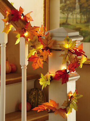Thanksgiving Décor 9 Ft. Colorful Maple Leaf Autumn Fall Leaves Lighted Garland