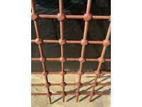 2 Antique Wrought Iron Steel Window Grilles Bars / Mountjoy Prison Ireland 1850